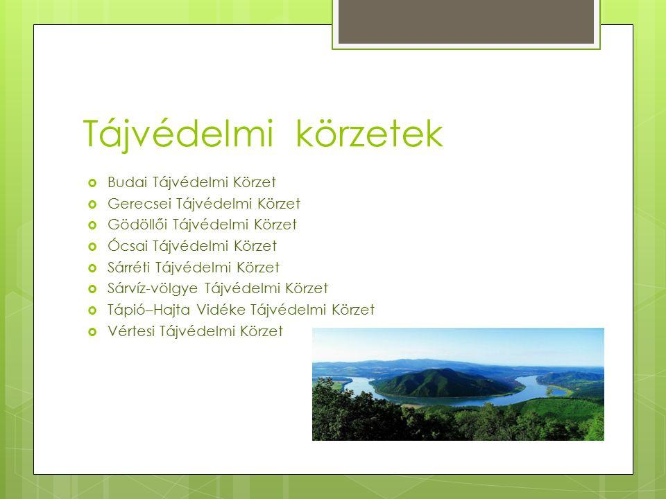 Tájvédelmi körzetek  Budai Tájvédelmi Körzet  Gerecsei Tájvédelmi Körzet  Gödöllői Tájvédelmi Körzet  Ócsai Tájvédelmi Körzet  Sárréti Tájvédelmi