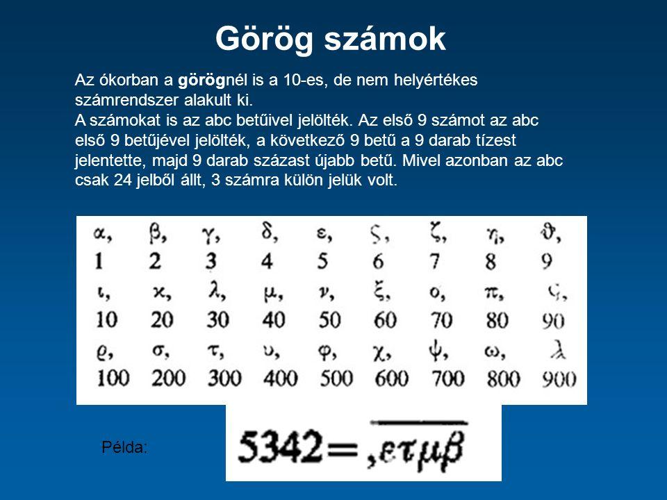 Görög számok Az ókorban a görögnél is a 10-es, de nem helyértékes számrendszer alakult ki.