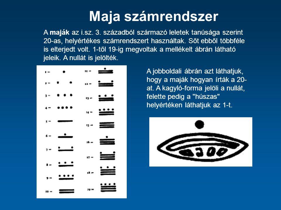 Maja számrendszer A maják az i.sz. 3.