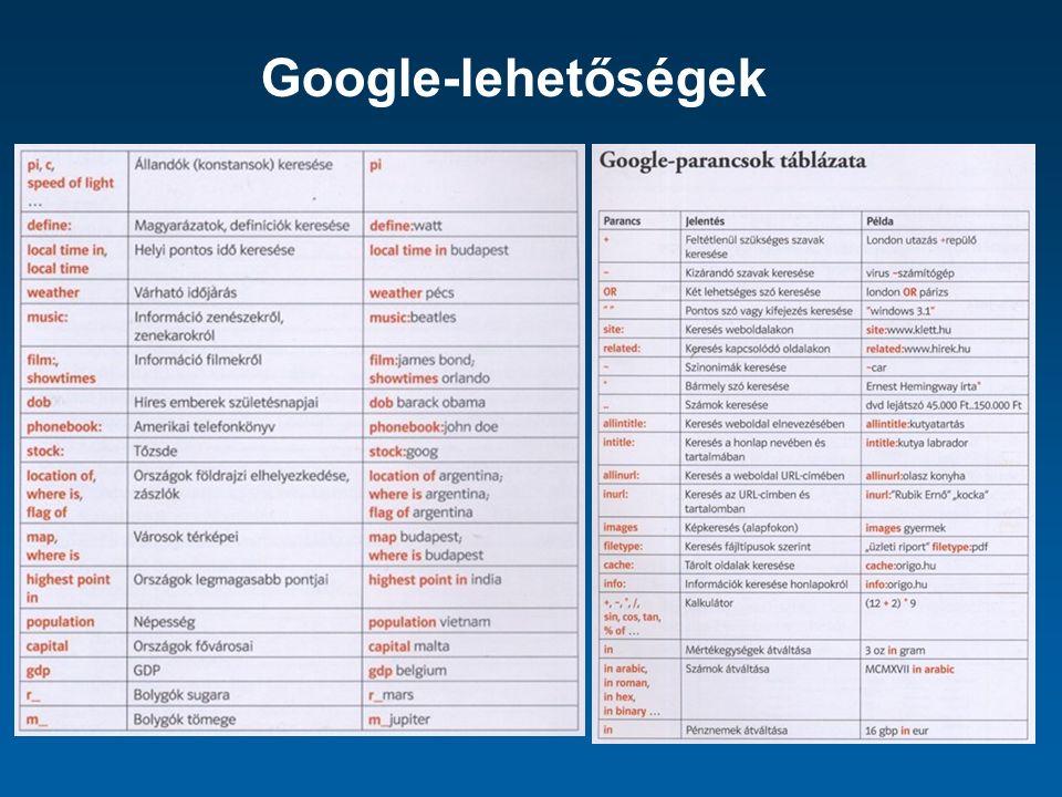Google-lehetőségek