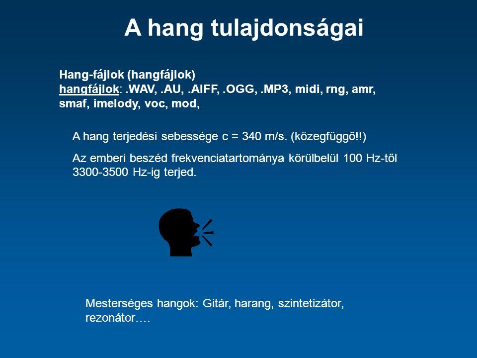 Hang-fájlok (hangfájlok) hangfájlok:.WAV,.AU,.AIFF,.OGG,.MP3, midi, rng, amr, smaf, imelody, voc, mod, A hang terjedési sebessége c = 340 m/s.