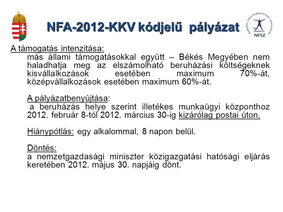 NFA-2012-KKV kódjelű pályázat A támogatás intenzitása: más állami támogatásokkal együtt – Békés Megyében nem haladhatja meg az elszámolható beruházási költségeknek kisvállalkozások esetében maximum 70%-át, középvállalkozások esetében maximum 60%-át.