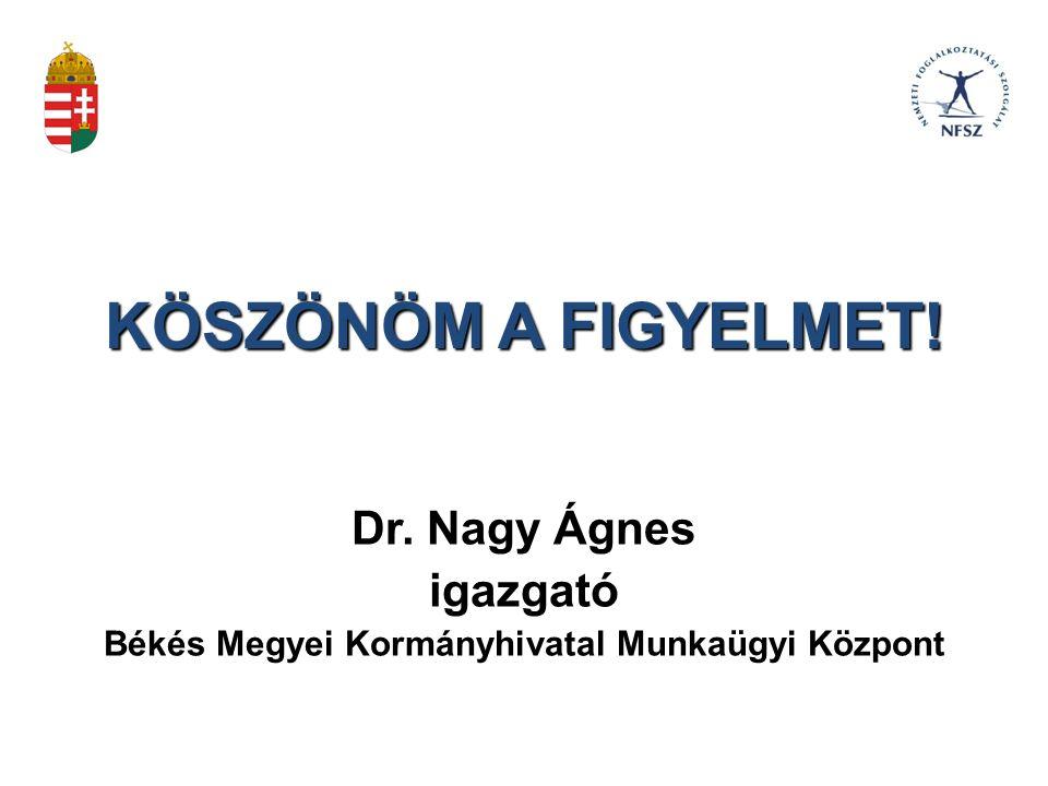 KÖSZÖNÖM A FIGYELMET! Dr. Nagy Ágnes igazgató Békés Megyei Kormányhivatal Munkaügyi Központ
