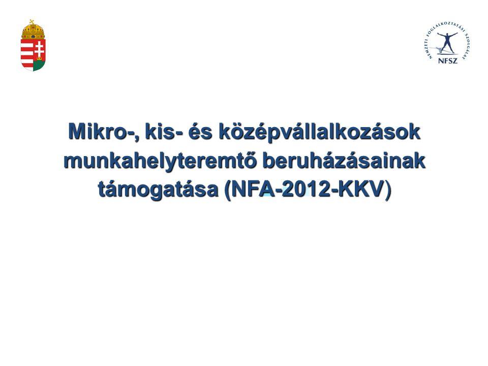 NFA-2012-KKV kódjelű pályázat A pályázat kiírója: a Nemzetgazdasági Minisztérium.
