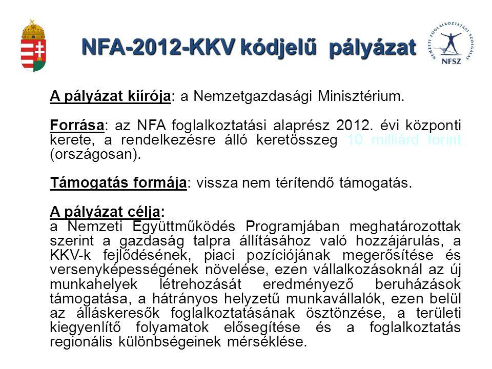 NFA-2012-KKV kódjelű pályázat Pályázók köre: Az Európai Gazdasági Térségen belül székhellyel, magyarországi telephellyel rendelkező: gazdasági társaságok, vállalatok külföldi székhelyű vállalkozások magyarországi fióktelepei, szövetkezetek, egyéni vállalkozások.