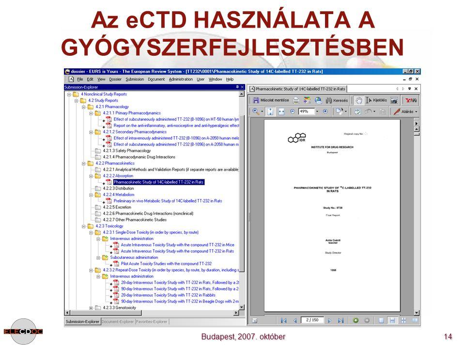 Budapest, 2007. október 14 Az eCTD HASZNÁLATA A GYÓGYSZERFEJLESZTÉSBEN