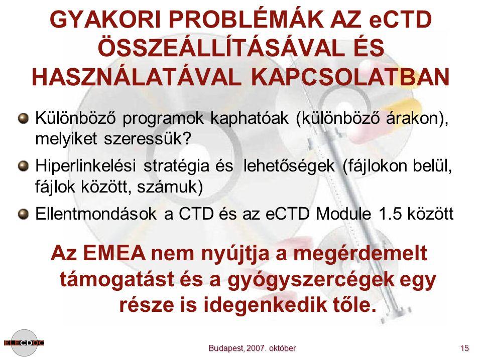 Budapest, 2007. október 15 GYAKORI PROBLÉMÁK AZ eCTD ÖSSZEÁLLÍTÁSÁVAL ÉS HASZNÁLATÁVAL KAPCSOLATBAN Különböző programok kaphatóak (különböző árakon),