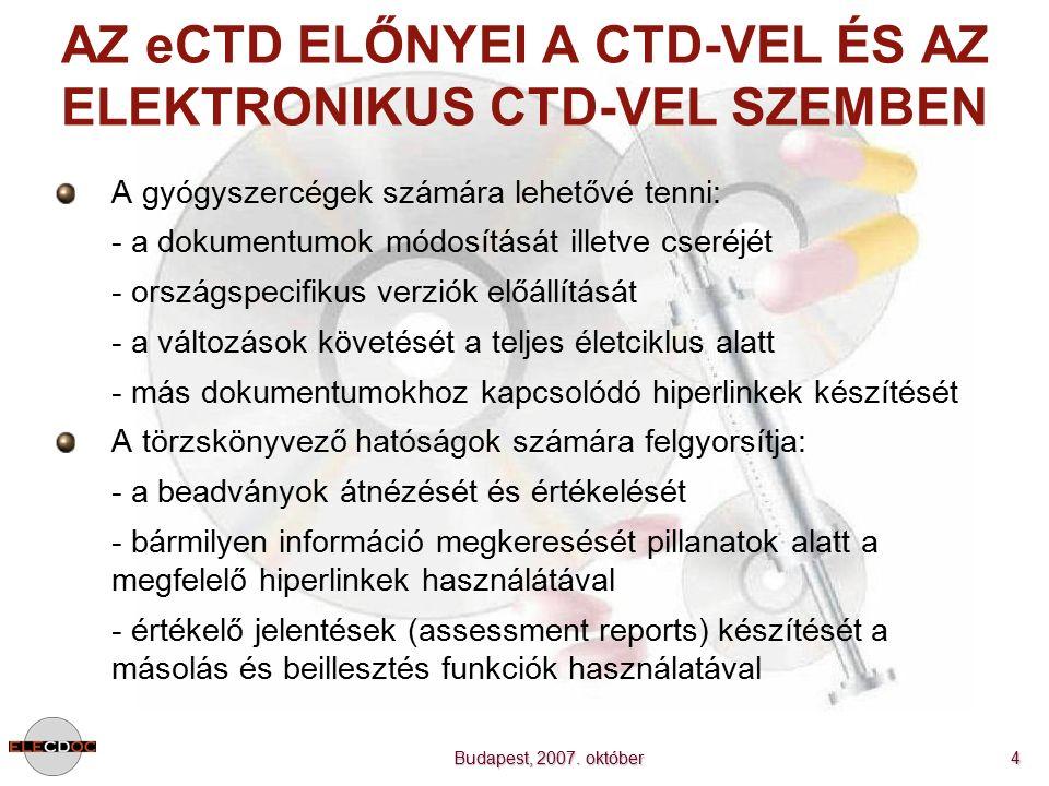 Budapest, 2007. október 4 AZ eCTD ELŐNYEI A CTD-VEL ÉS AZ ELEKTRONIKUS CTD-VEL SZEMBEN A gyógyszercégek számára lehetővé tenni: - a dokumentumok módos