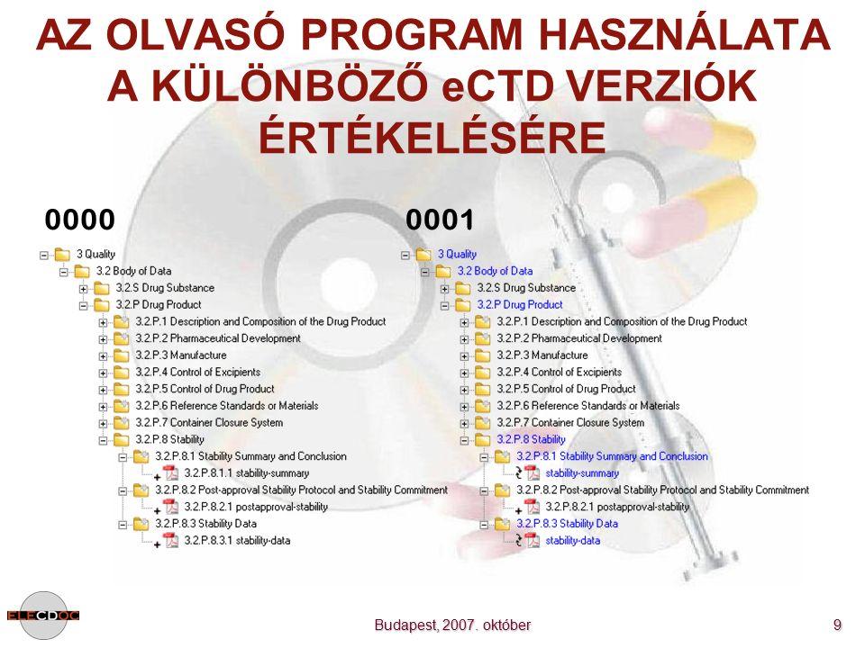 Budapest, 2007. október 9 AZ OLVASÓ PROGRAM HASZNÁLATA A KÜLÖNBÖZŐ eCTD VERZIÓK ÉRTÉKELÉSÉRE 00000001