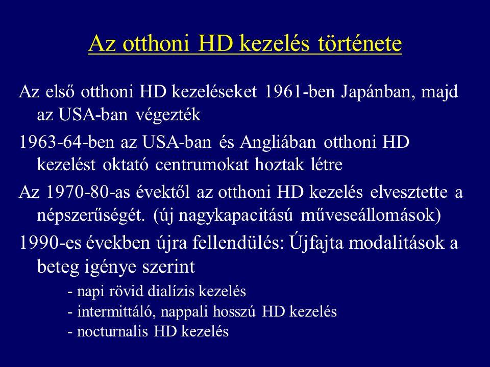 Az első otthoni HD kezeléseket 1961-ben Japánban, majd az USA-ban végezték 1963-64-ben az USA-ban és Angliában otthoni HD kezelést oktató centrumokat hoztak létre Az 1970-80-as évektől az otthoni HD kezelés elvesztette a népszerűségét.