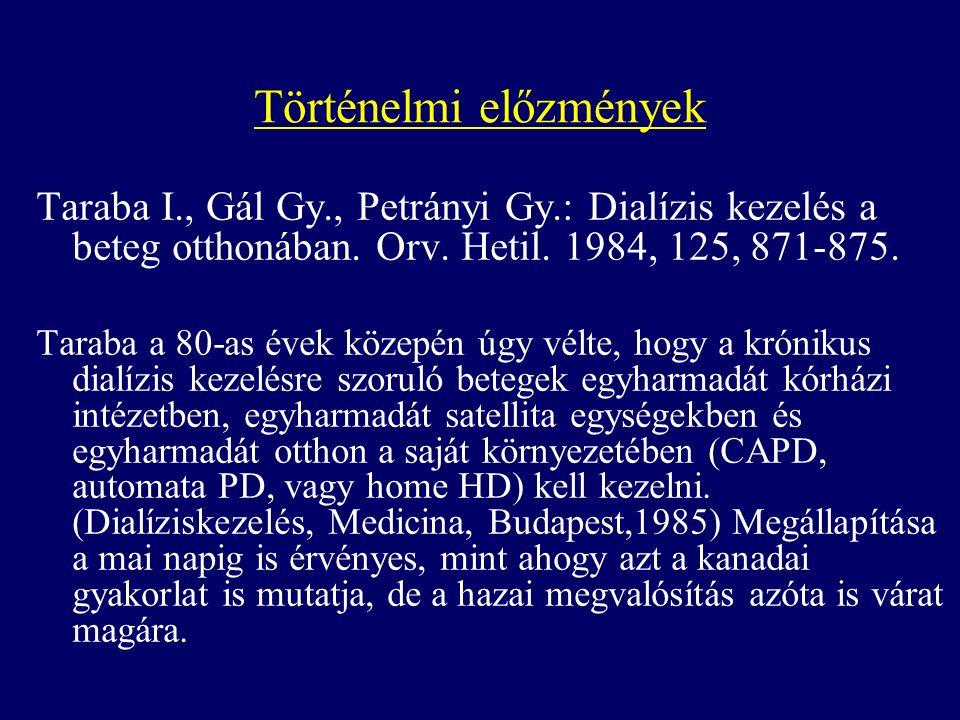 Történelmi előzmények Taraba I., Gál Gy., Petrányi Gy.: Dialízis kezelés a beteg otthonában.
