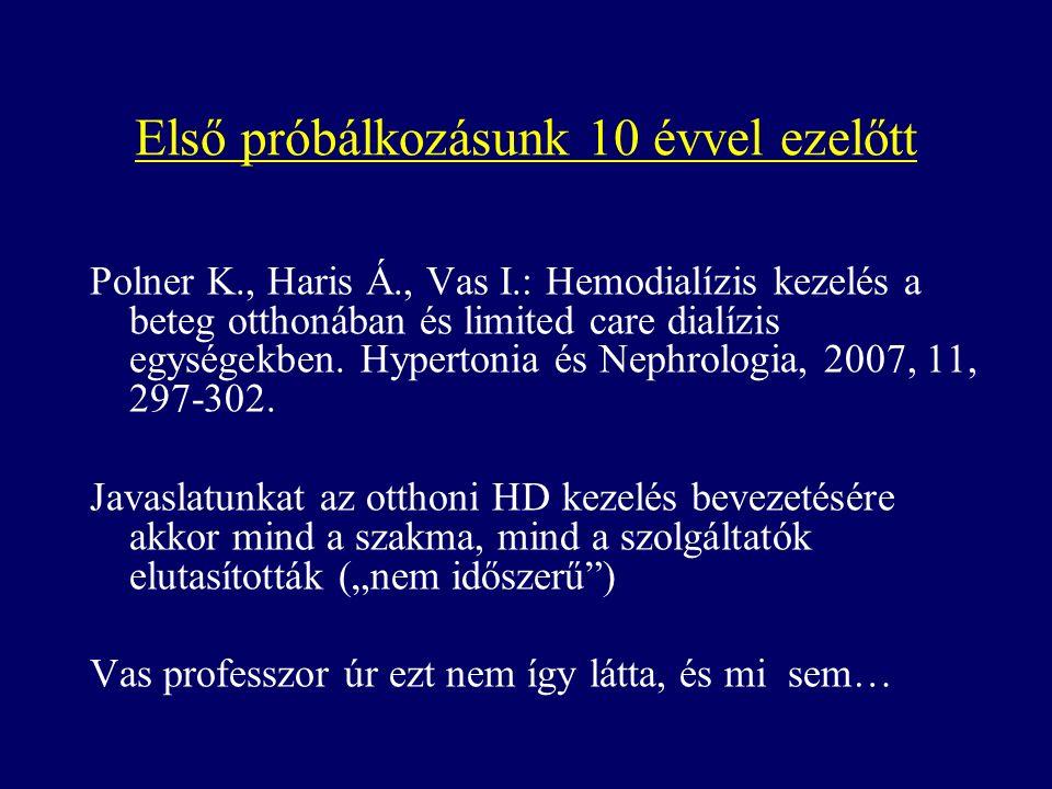 Első próbálkozásunk 10 évvel ezelőtt Polner K., Haris Á., Vas I.: Hemodialízis kezelés a beteg otthonában és limited care dialízis egységekben.