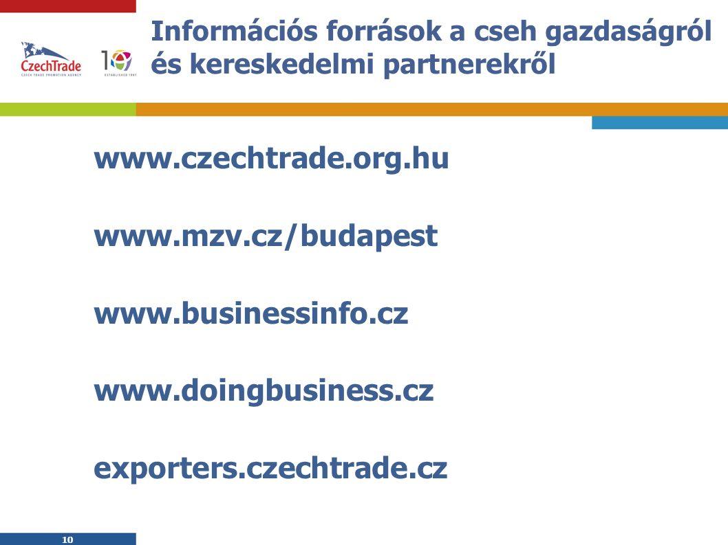 10 Információs források a cseh gazdaságról és kereskedelmi partnerekről www.czechtrade.org.hu www.mzv.cz/budapest www.businessinfo.cz www.doingbusiness.cz exporters.czechtrade.cz