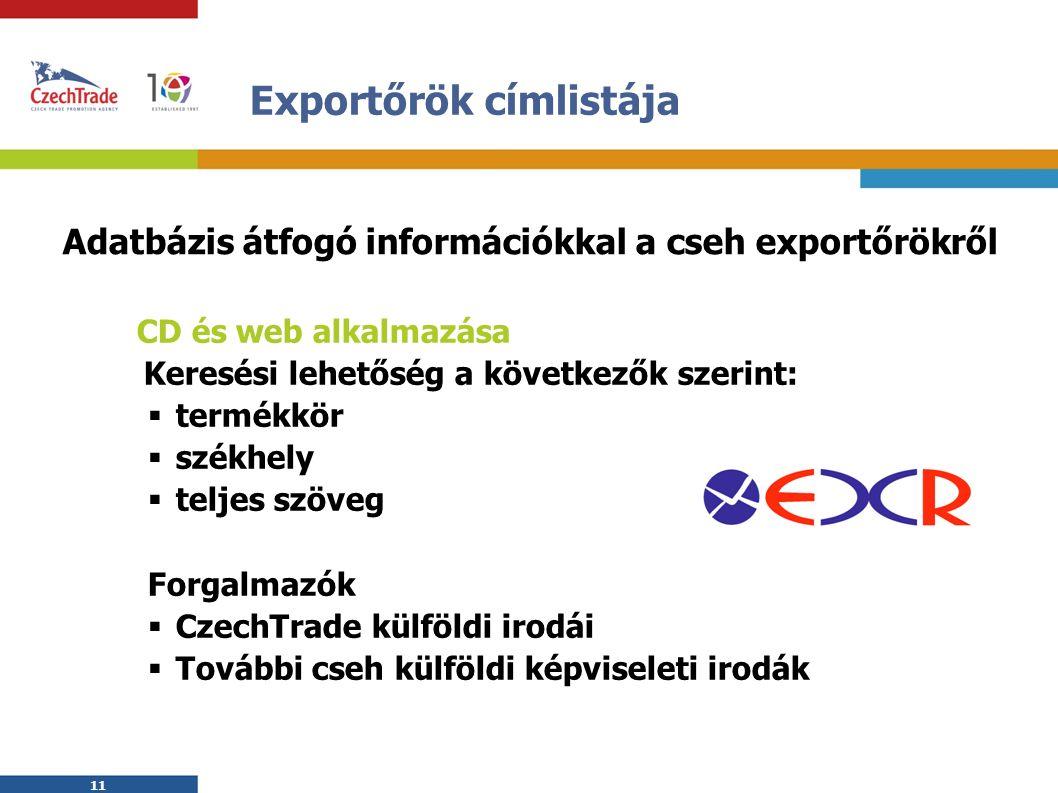 11 Exportőrök címlistája CD és web alkalmazása  Keresési lehetőség a következők szerint:  termékkör  székhely  teljes szöveg Forgalmazók  CzechTrade külföldi irodái  További cseh külföldi képviseleti irodák Adatbázis átfogó információkkal a cseh exportőrökről