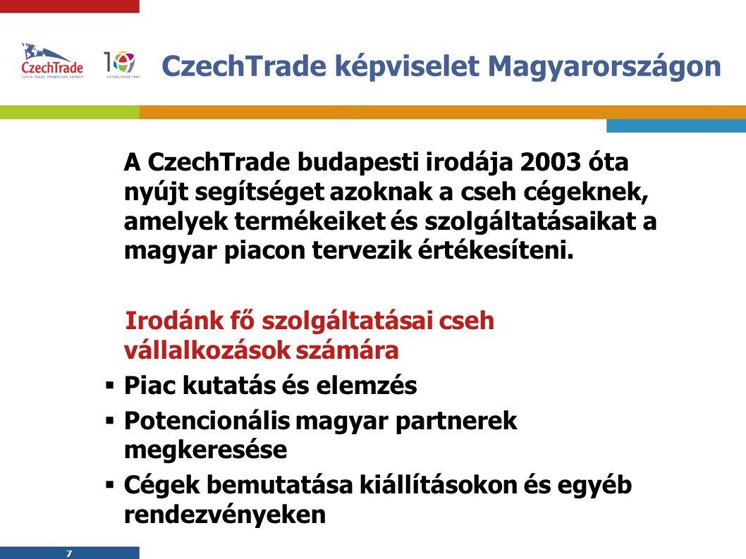7 7 CzechTrade képviselet Magyarországon A CzechTrade budapesti irodája 2003 óta nyújt segítséget azoknak a cseh cégeknek, amelyek termékeiket és szolgáltatásaikat a magyar piacon tervezik értékesíteni.