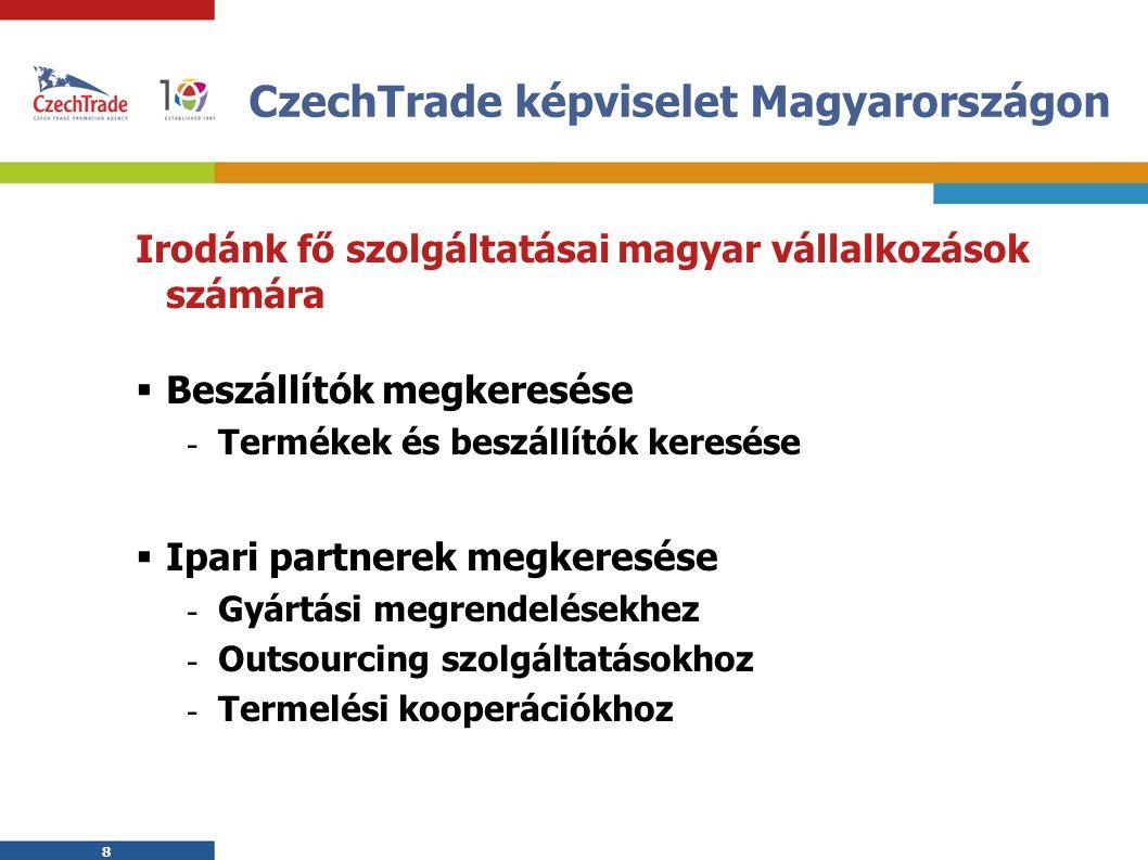 8 8 CzechTrade képviselet Magyarországon Irodánk fő szolgáltatásai magyar vállalkozások számára  Beszállítók megkeresése - Termékek és beszállítók keresése  Ipari partnerek megkeresése - Gyártási megrendelésekhez - Outsourcing szolgáltatásokhoz - Termelési kooperációkhoz