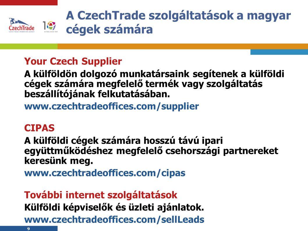 9 9 A CzechTrade szolgáltatások a magyar cégek számára Your Czech Supplier A külföldön dolgozó munkatársaink segítenek a külföldi cégek számára megfelelő termék vagy szolgáltatás beszállítójának felkutatásában.
