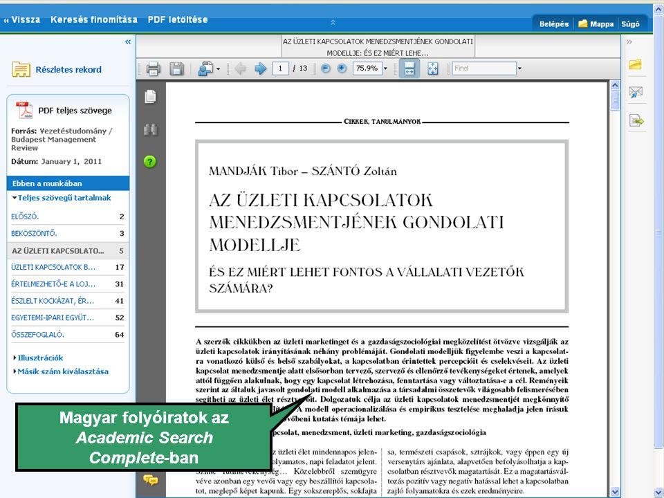 Magyar folyóiratok az Academic Search Complete-ban