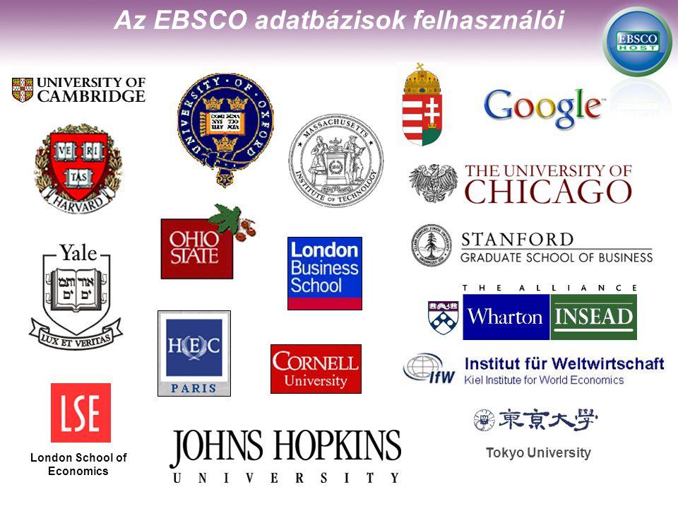 Tokyo University London School of Economics Az EBSCO adatbázisok felhasználói