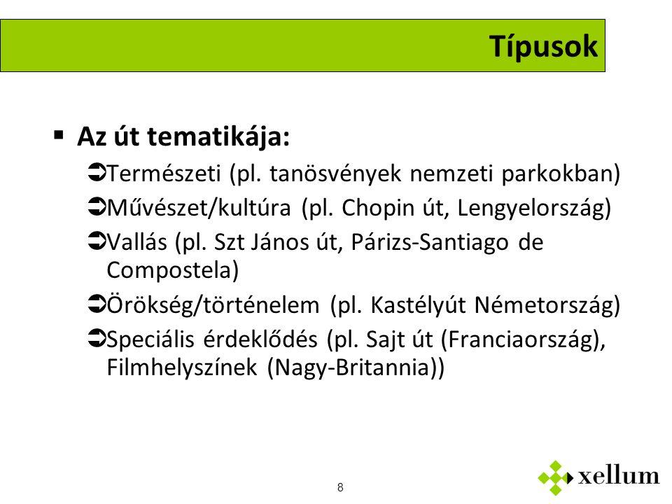 8 Típusok  Az út tematikája:  Természeti (pl.
