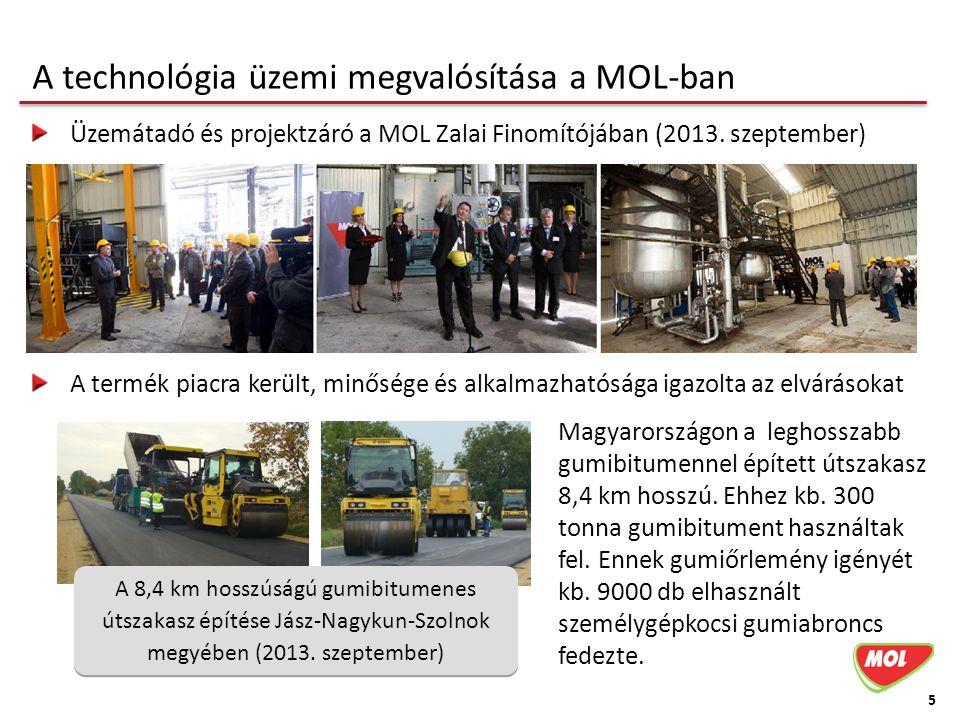 A technológia üzemi megvalósítása a MOL-ban 5 Üzemátadó és projektzáró a MOL Zalai Finomítójában (2013. szeptember) A termék piacra került, minősége é