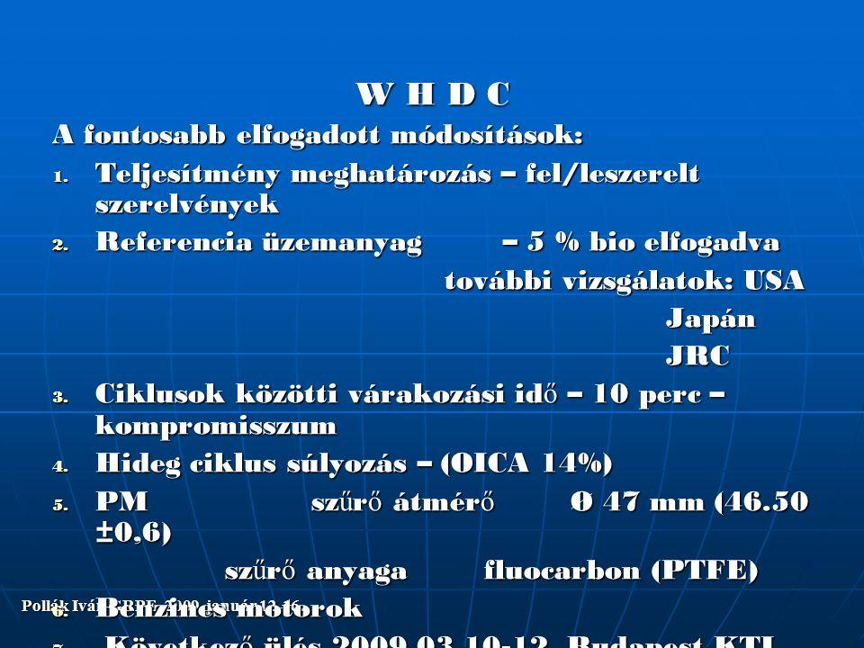 Pollák Iván GRPE 2009. január 12-16. W H D C A fontosabb elfogadott módosítások: 1.