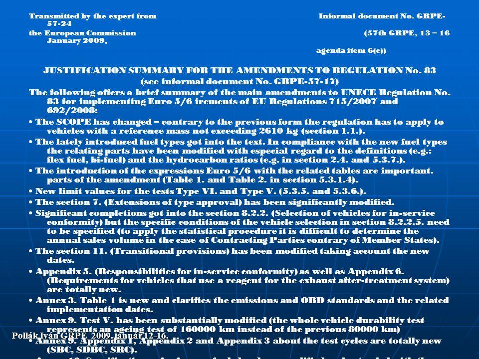 Pollák Iván GRPE 2009.január 12-16. Transmitted by the expert fromInformal document No.