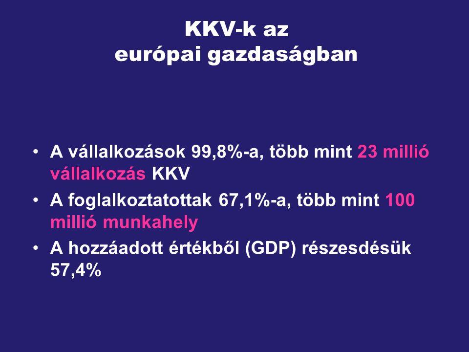 KKV-k az európai gazdaságban A vállalkozások 99,8%-a, több mint 23 millió vállalkozás KKV A foglalkoztatottak 67,1%-a, több mint 100 millió munkahely A hozzáadott értékből (GDP) részesdésük 57,4%