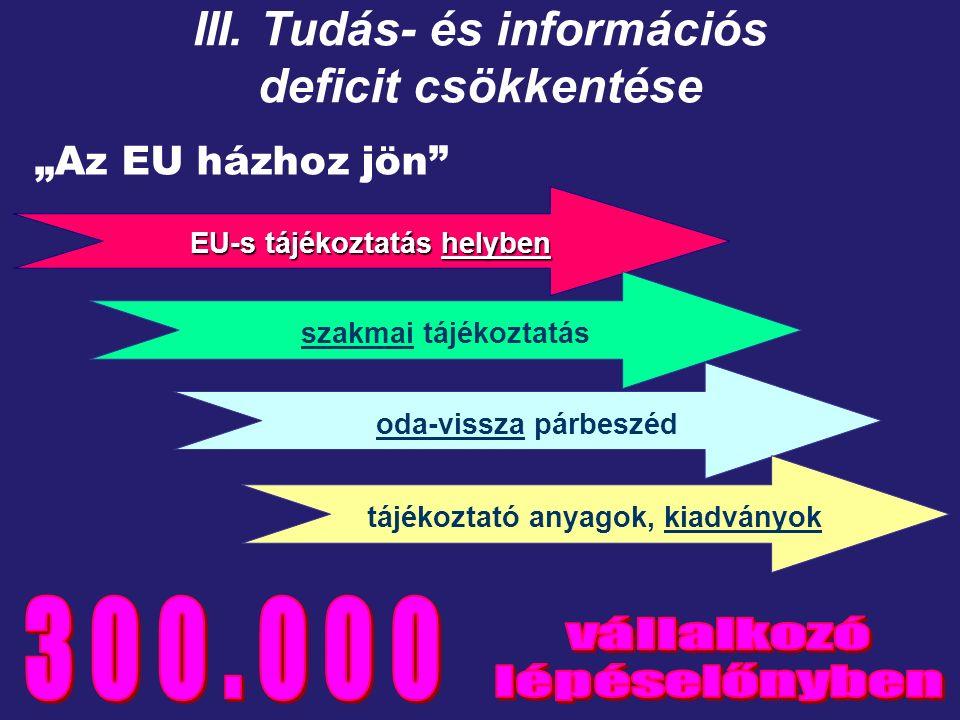"""""""Az EU házhoz jön EU-s tájékoztatás helyben szakmai tájékoztatás oda-vissza párbeszéd tájékoztató anyagok, kiadványok III."""