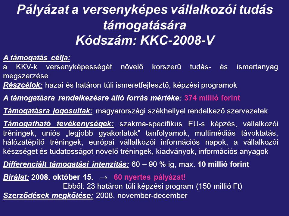 """Pályázat a versenyképes vállalkozói tudás támogatására Kódszám: KKC-2008-V A támogatás célja: a KKV-k versenyképességét növelő korszerű tudás- és ismertanyag megszerzése Részcélok: hazai és határon túli ismeretfejlesztő, képzési programok A támogatásra rendelkezésre álló forrás mértéke: 374 millió forint Támogatásra jogosultak: magyarországi székhellyel rendelkező szervezetek Támogatható tevékenységek: szakma-specifikus EU-s képzés, vállalkozói tréningek, uniós """"legjobb gyakorlatok tanfolyamok, multimédiás távoktatás, hálózatépítő tréningek, európai vállalkozói információs napok, a vállalkozói készséget és tudatosságot növelő tréningek, kiadványok, információs anyagok Differenciált támogatási intenzitás: 60 – 90 %-ig, max."""