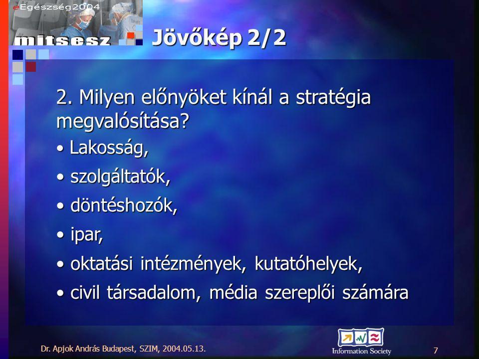 Dr. Apjok András Budapest, SZIM, 2004.05.13. 7 Jövőkép 2/2 2.