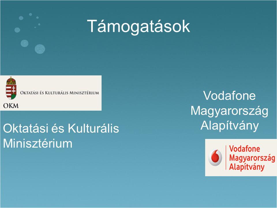 Támogatások Oktatási és Kulturális Minisztérium Vodafone Magyarország Alapítvány