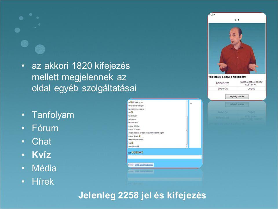 az akkori 1820 kifejezés mellett megjelennek az oldal egyéb szolgáltatásai Tanfolyam Fórum Chat Kvíz Média Hírek Jelenleg 2258 jel és kifejezés