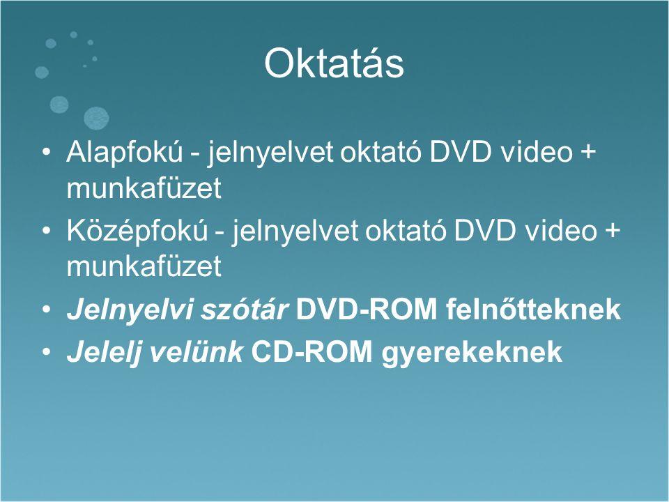 Oktatás Alapfokú - jelnyelvet oktató DVD video + munkafüzet Középfokú - jelnyelvet oktató DVD video + munkafüzet Jelnyelvi szótár DVD-ROM felnőtteknek Jelelj velünk CD-ROM gyerekeknek