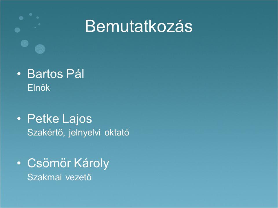 Bemutatkozás Bartos Pál Elnök Petke Lajos Szakértő, jelnyelvi oktató Csömör Károly Szakmai vezető