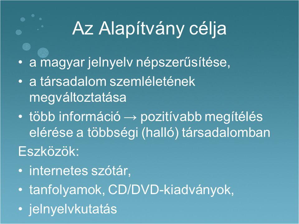 Az Alapítvány célja a magyar jelnyelv népszerűsítése, a társadalom szemléletének megváltoztatása több információ → pozitívabb megítélés elérése a többségi (halló) társadalomban Eszközök: internetes szótár, tanfolyamok, CD/DVD-kiadványok, jelnyelvkutatás