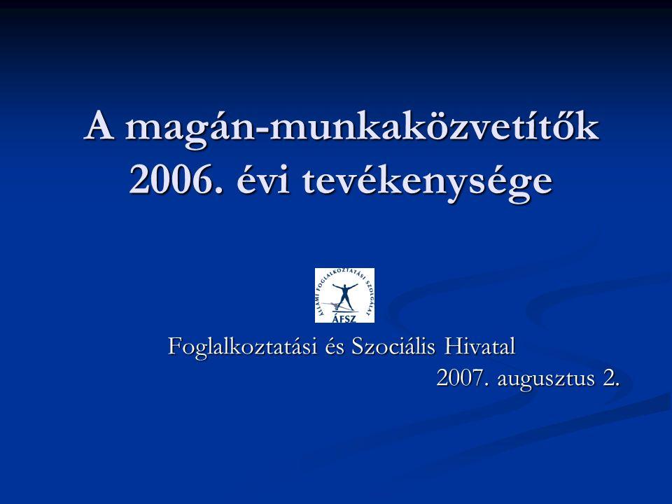 A magán-munkaközvetítők 2006. évi tevékenysége Foglalkoztatási és Szociális Hivatal 2007.