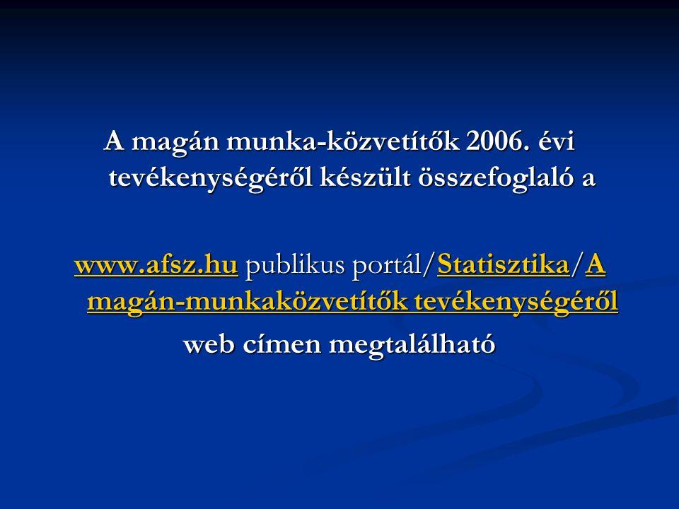 A magán munka-közvetítők 2006.