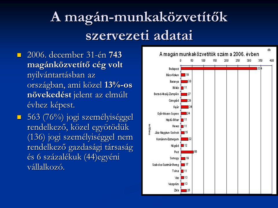 A magán-munkaközvetítők szervezeti adatai 2006.