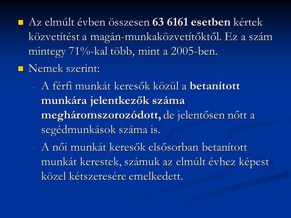 Az elmúlt évben összesen 63 6161 esetben kértek közvetítést a magán-munkaközvetítőktől.