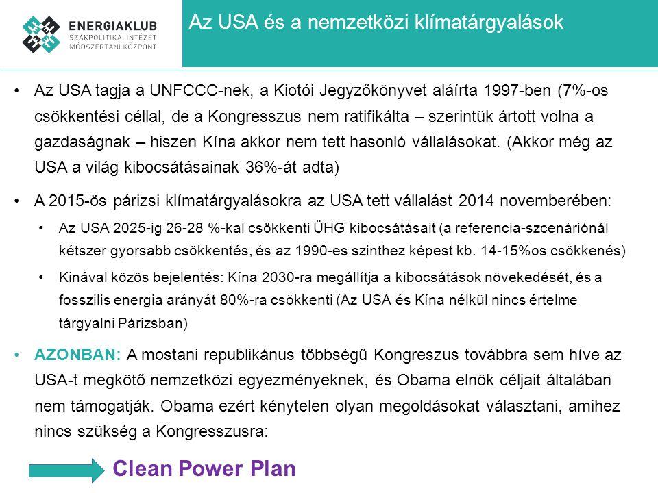 Az USA és a nemzetközi klímatárgyalások Az USA tagja a UNFCCC-nek, a Kiotói Jegyzőkönyvet aláírta 1997-ben (7%-os csökkentési céllal, de a Kongresszus nem ratifikálta – szerintük ártott volna a gazdaságnak – hiszen Kína akkor nem tett hasonló vállalásokat.