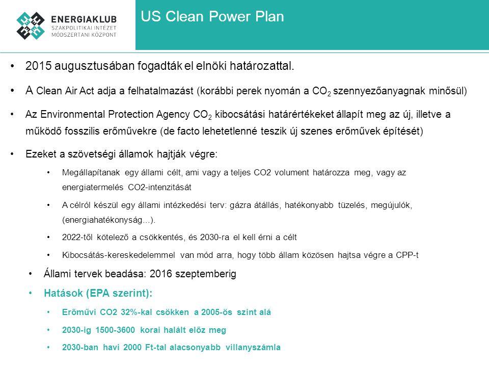 US Clean Power Plan 2015 augusztusában fogadták el elnöki határozattal.