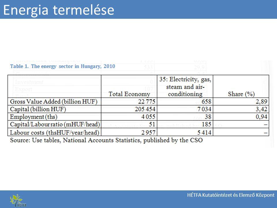 HÉTFA Kutatóintézet és Elemző Központ Energia termelése