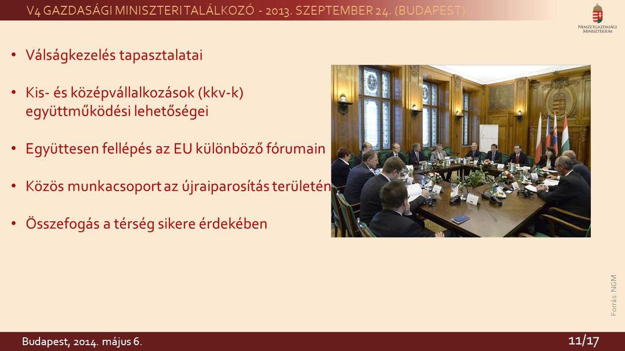 Forrás: NGM V4 GAZDASÁGI MINISZTERI TALÁLKOZÓ - 2013.