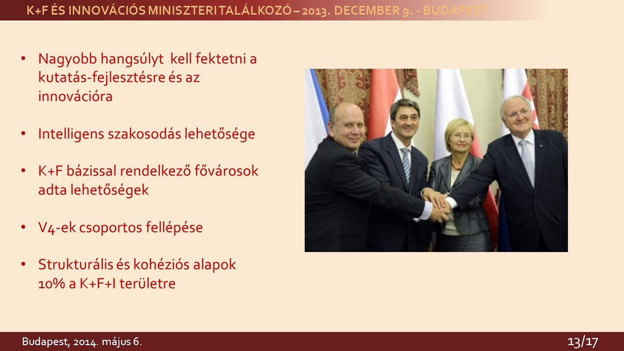 K+F ÉS INNOVÁCIÓS MINISZTERI TALÁLKOZÓ – 2013. DECEMBER 9.