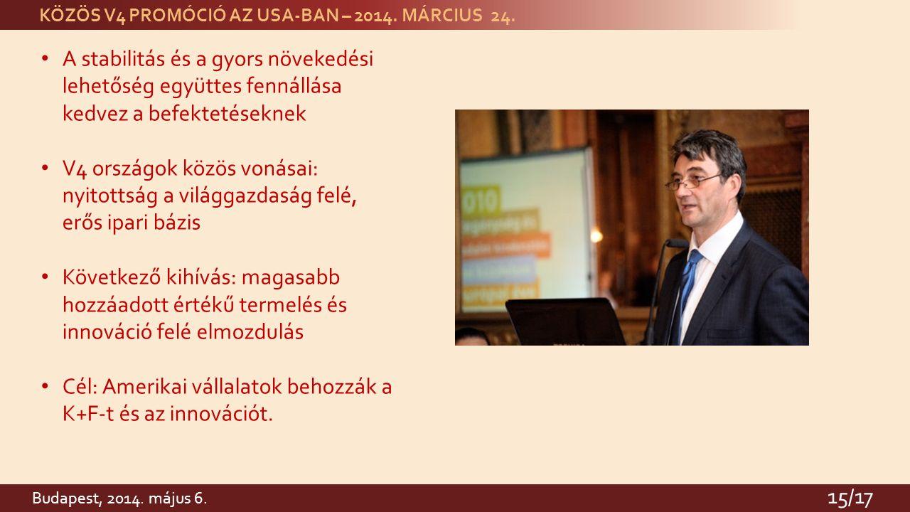 KÖZÖS V4 PROMÓCIÓ AZ USA-BAN – 2014. MÁRCIUS 24.