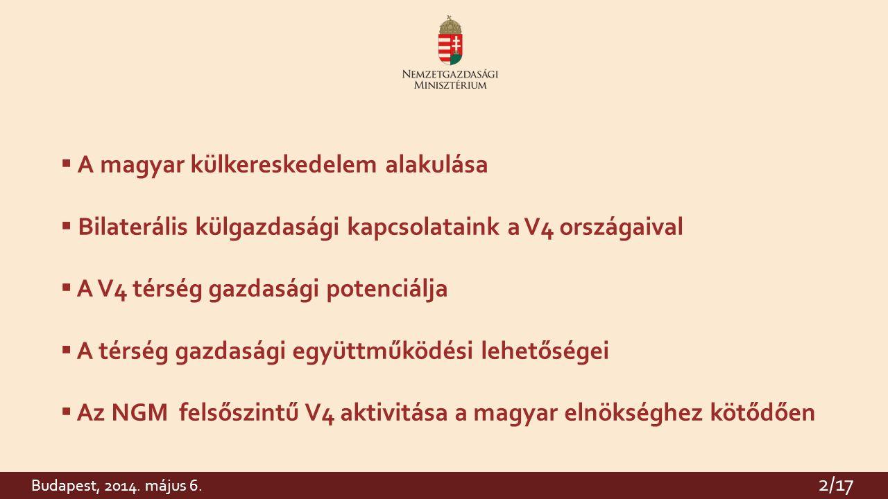 2  A magyar külkereskedelem alakulása  Bilaterális külgazdasági kapcsolataink a V4 országaival  A V4 térség gazdasági potenciálja  A térség gazdasági együttműködési lehetőségei  Az NGM felsőszintű V4 aktivitása a magyar elnökséghez kötődően 2/17 Budapest, 2014.