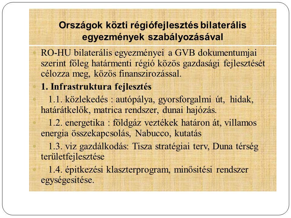 Országok közti régiófejlesztés bilaterális egyezmények szabályozásával RO-HU bilaterális egyezményei a GVB dokumentumjai szerint főleg határmenti régi