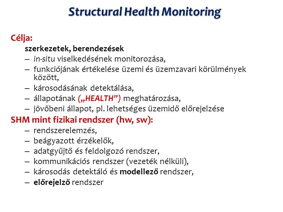 """Structural Health Monitoring Célja: szerkezetek, berendezések – in-situ viselkedésének monitorozása, – funkciójának értékelése üzemi és üzemzavari körülmények között, – károsodásának detektálása, – állapotának (""""HEALTH ) meghatározása, – jövőbeni állapot, pl."""