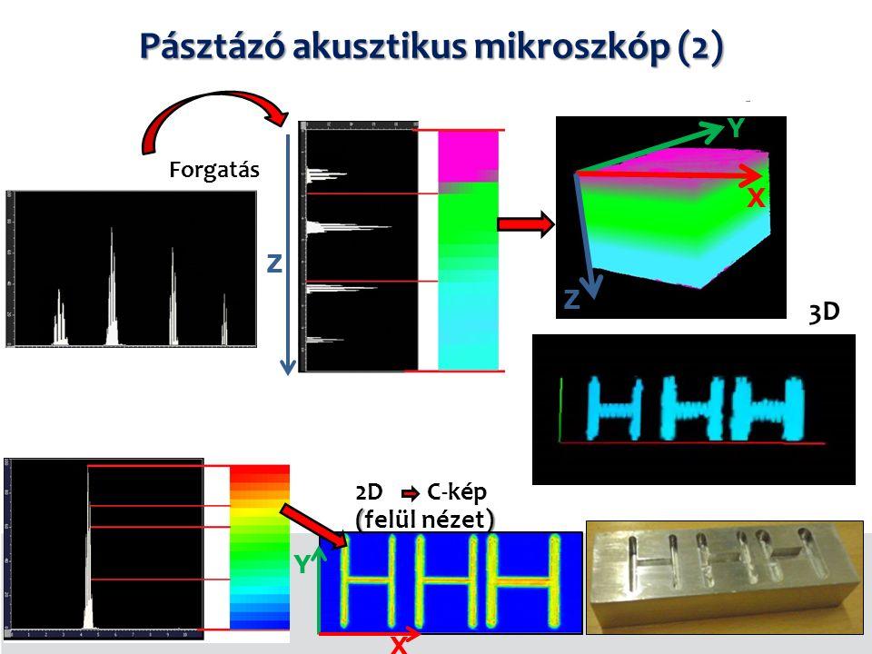 3D Forgatás ( ) 2D C-kép (felül nézet) 18/6.dia X Y Z X Y Z Pásztázó akusztikus mikroszkóp (2)